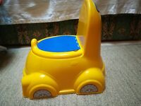 Portable Fun Yellow Car shaped potty trainer with lid.
