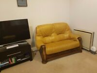 Beautiful Natural Leather Sofa Suit - 2 seater & 3 seater-yellow, solid wood frame. Great condition