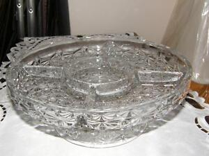 Glass Pedestal Divided Relish/Veggie Type Dish Kingston Kingston Area image 1