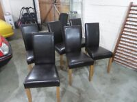 6 x Brown Faux Leather Dinning Chairs with Oak Legs
