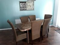 Large Kitchen Dining Table 6ft x 3ft & 6 High Back Chairs