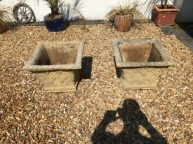 Large stone statement planters x 2