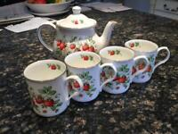 Sadler Fine Bone China mugs and teapot