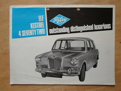 RILEY RANGE 1965 UK Mkt Sales Brochure - Elf Kestrel 4 Seventy Two