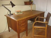 Vintage mid-century office / schoolteacher's desk and chair Good condition