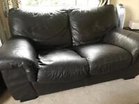 Three piece dark brown leather suite