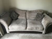 2 x 2 seater sofa & foot stool with storage