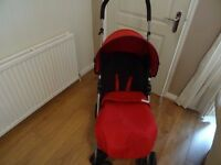 Mamas and Papas Red Buggy/Pushchair complete with raincover, cosy toes and changing bag