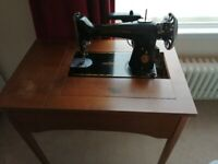 Vintage Singer Electric Sewing Machine 201K with Cabinet