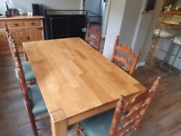 Oak Dining Table plus antique style Chairs