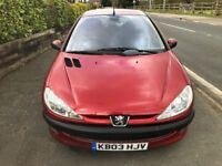 2003 PEUGEOT 206 1.4LX 5 DOOR HATCHBACK, ALLOYS, C/D PLAYER. LONG MOT CHEAP TAX.