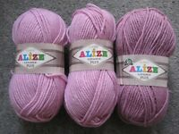 Make Garments with 3 Balls of Pink Alize Lanagold Plus + 1.67 balls of White Superlana Maxi Yarn