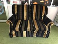 Stunning black and gold small 2 seater sofa