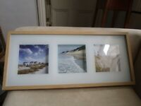 Lovely triple shadow box art print Ikea Eriklund 3D effect wood frame seascapes