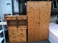 WARDROBE + CHESTER DRAWERS + BEDSIDE CABINETS FULL SET