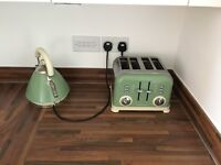 RETRO Green and Cream Toaster and Kettle