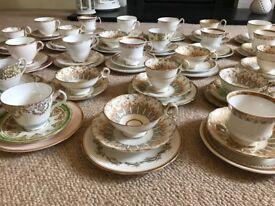 Set of 25 vintage crockery trios weddings