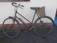 Vintage New Hudson Ladies Bicycle In Need of Restoration