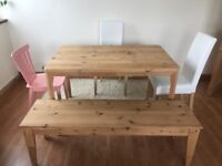 IKEA Pine Dining table + pine bench + 2 HENRIKSDAL chairs + NORRARYD chair
