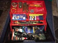 Fishing Tackle Bait Box Fully Loaded With Tackle In Tackle Box, Reel Hooks Alarm