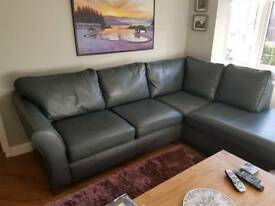 Dark grey M&S leather sofa and matching love seat.
