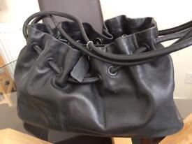 Real black leather handbag - £7