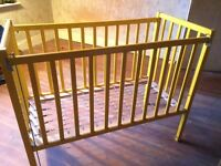 Sprung base yellow child's cot. Collection only.