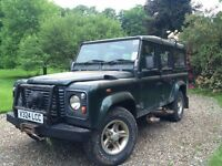 SOLD - LAND ROVER DEFENDER 110 COUNTY STATION WAGON TD5, 12 SEATER (12 Month MOT)