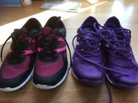 Two pairs ladies gym shoes