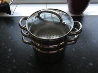 Set of 3 pans including 2x steamer