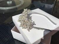 Wedding head band Swarovski crystal and pearl