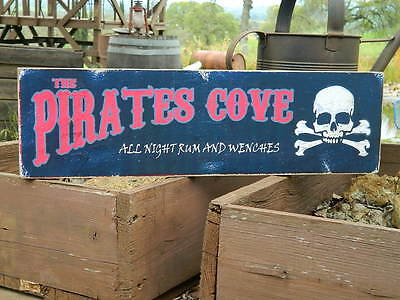 Distressed Primitive Halloween Country Wood Sign - The Pirates Cove   5.5