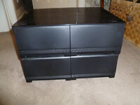 1 Single and 2 Double Black VHS Storage Cabinets Stackable Vintage