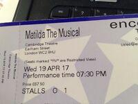 Matilda theatre tickets at Cambridge theatre 19th April 7.30 performance stalls