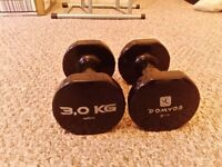 Weight kit (2x 3 kilo) plus black excercise mat