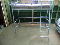 jaybe high sleeper metal framed 3ft single bed complete with mattress