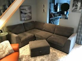 L shaped grey sofa. Great condition. From DFS. Inc footstool