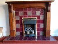 Gas fire, hearth, back and mantlepiece