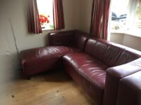 Burgundy leather corner chaise and compact sofa for sale.