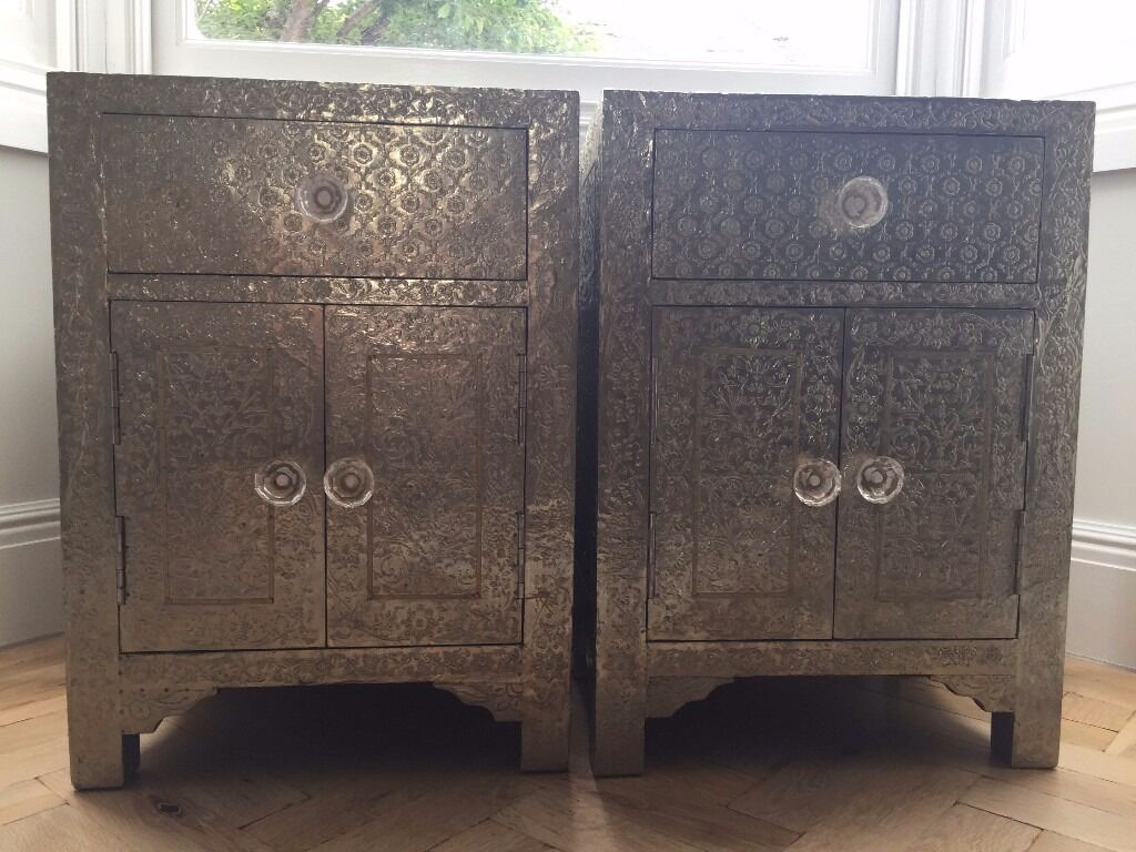 2 X Graham Green Embossed White Metal Bedside Tables