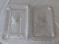 2 Vintage glass Vanity Trays