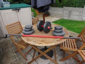 Dumbell/Barbell & Bullworker with both bars and weights 2-6 kgs.