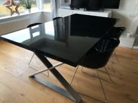 Extendable Crossed Leg Black Gloss table and 4 Chairs