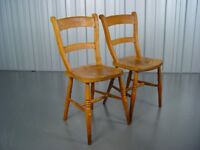 Two Vintage Farmhouse Chairs Mid Century Retro Furniture