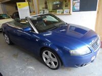 2002 AUDI A4 3.0, CONVERTIBLE, SERVICE HISTORY, NEW TIMING BELT 68 K, DRIVES LIKE NEW