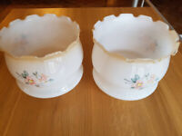 2x glass vintage lampshades