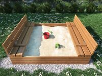 New High Quality Square Wooden Sand Pit 120 cm X 120 cm, Well made Sandpit + WOODEN LID +SEATS+COVER