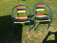 2 X Colourful Hand Painted Garden Chairs
