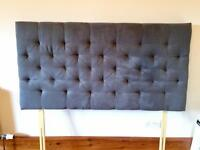 Brand New! Double Grey Suede Headboard, CAN DELIVER