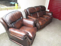 3 seat 1 chair brown suite in full hide leather USED